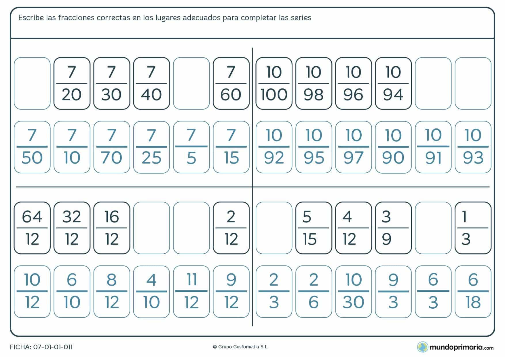 Ficha de completar series de fracciones completando los espacios en blanco.