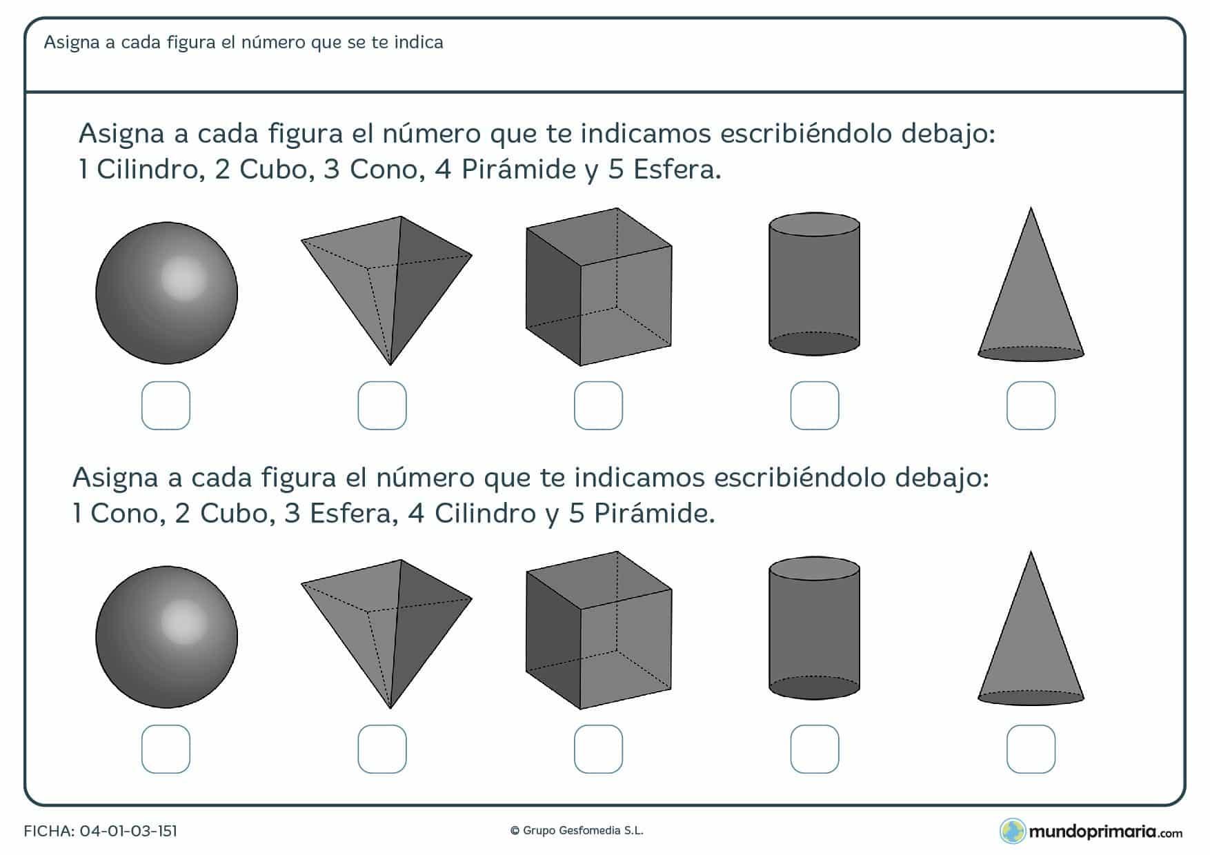 Ficha de conos y otros cuerpos geométricos que deberas clasificar por sus nombres.