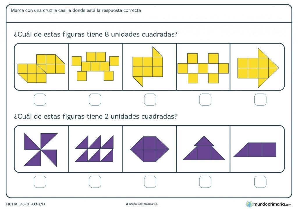 Ficha de contar unidades cuadradas para niños de primaria