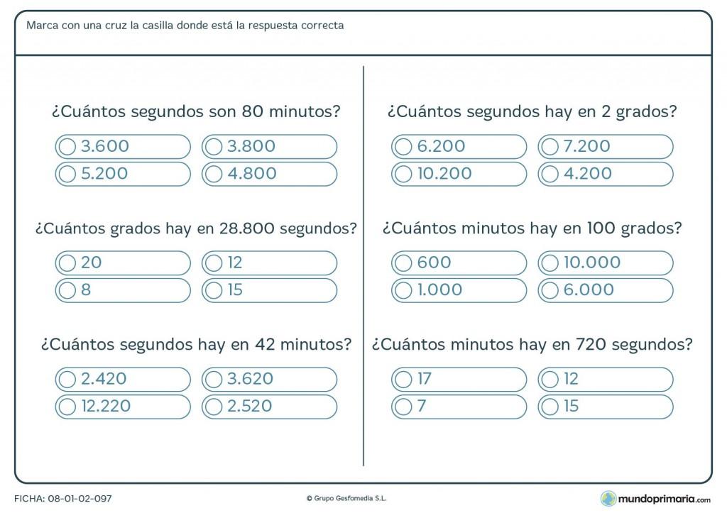 Ficha de convertir minutos a segundos para primaria