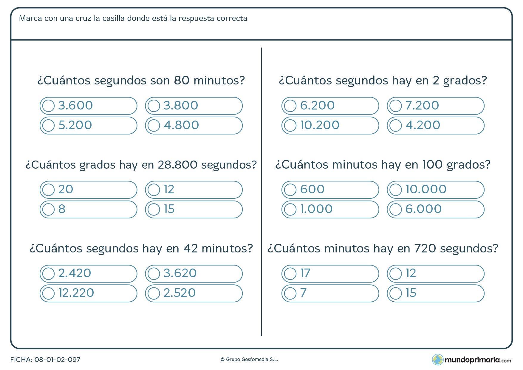 Ficha de convertir minutos a segundos o a grados en esta ficha con 6 prácticos ejercicios.