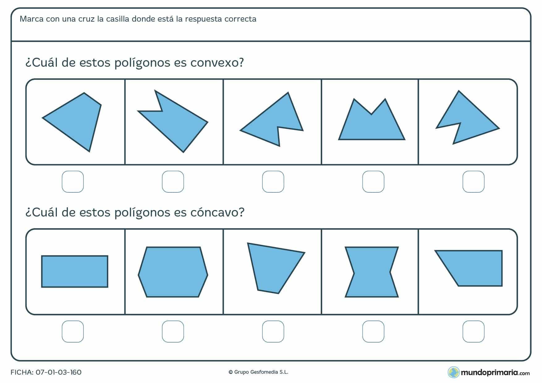 Ficha de convexos para señalar cuál es convexo o cuál concavo de los siguientes polígonos.