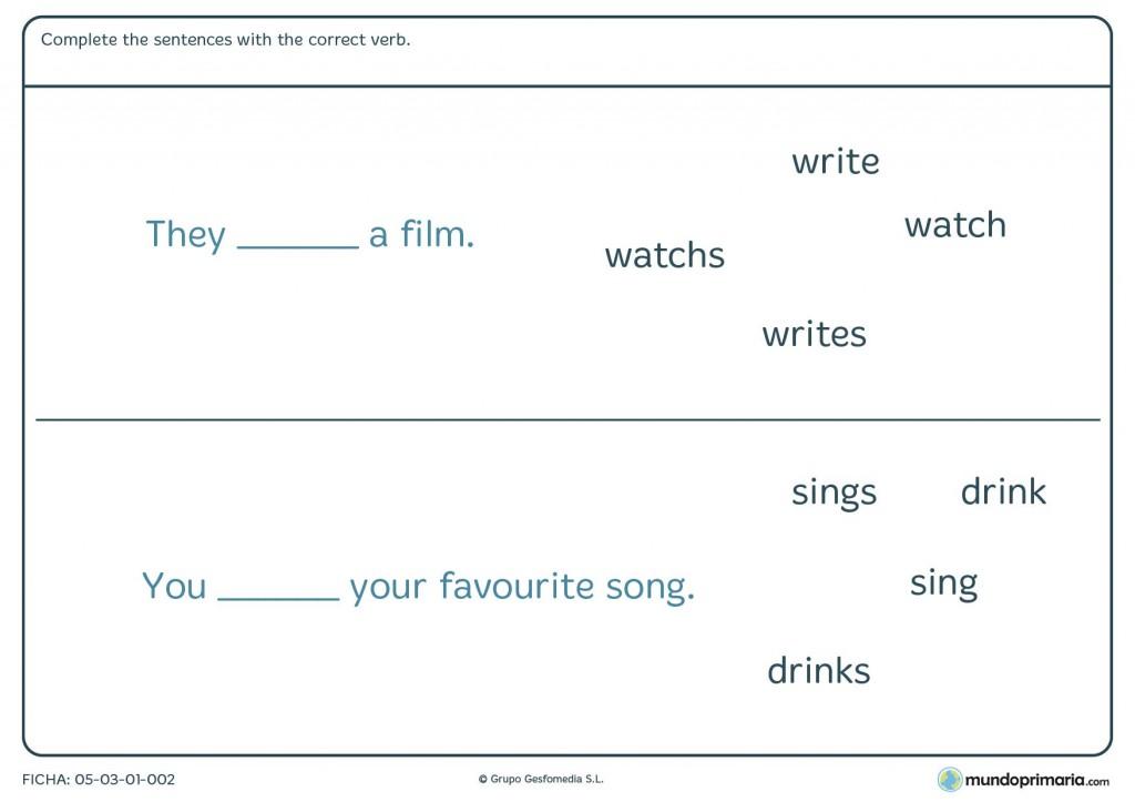 Ficha de correct verb para primaria