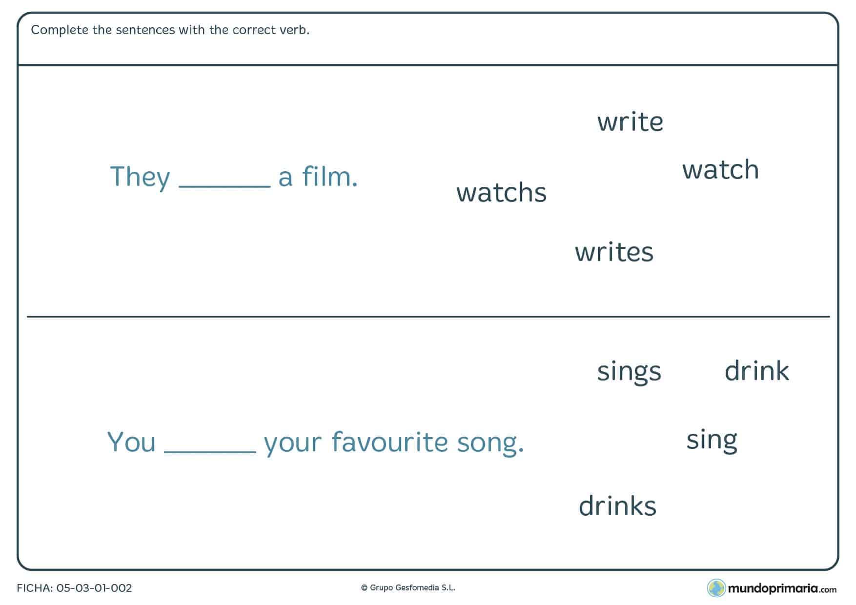 Descarga esta ficha de correct verb para estudiar los verbos en inglés para primaria