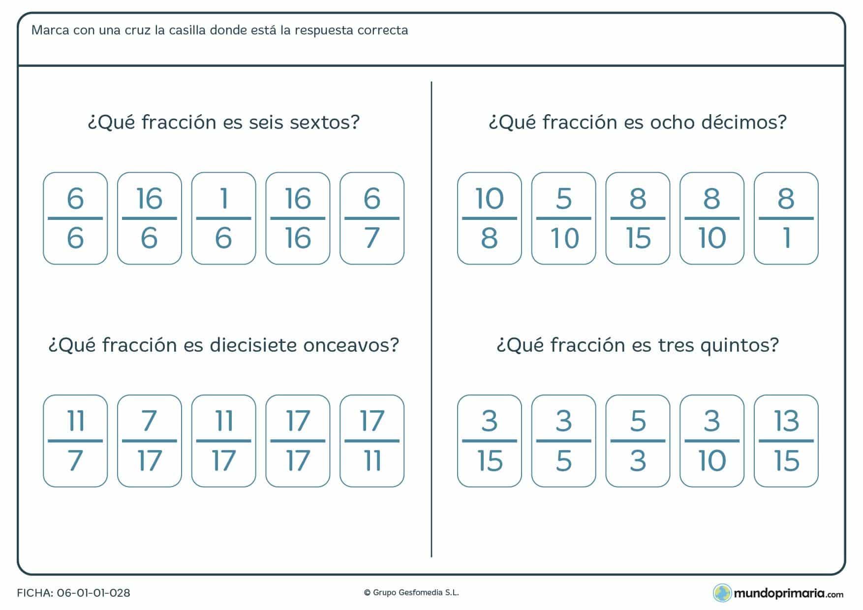 Ficha de correspondecia de fracciones numérica con su nombre. Hay señalar la correcta.