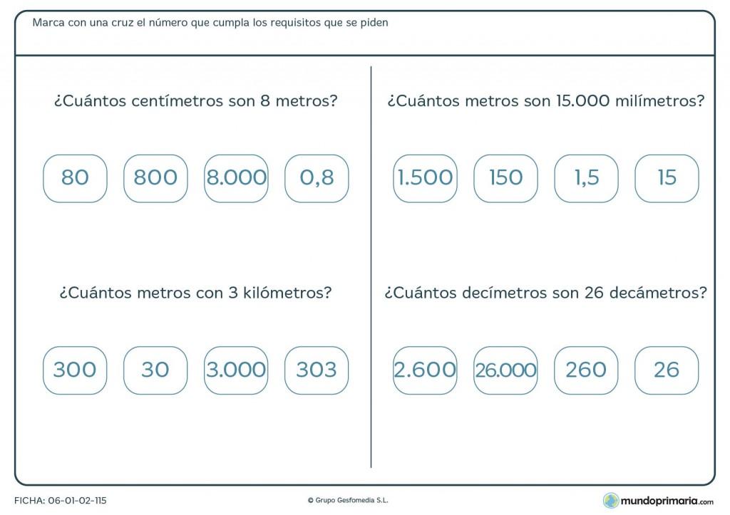 Ficha de correspondencia de medidas para primaria