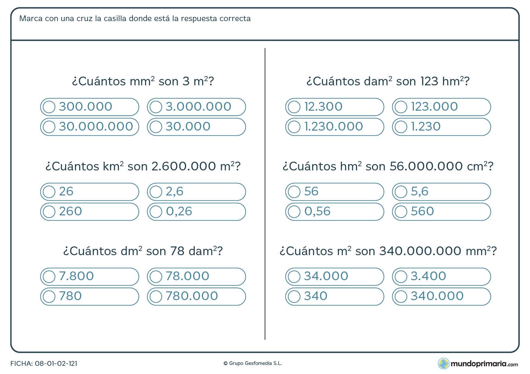Ficha de correspondencia de medidas desde milímetros hasta kilómetros.