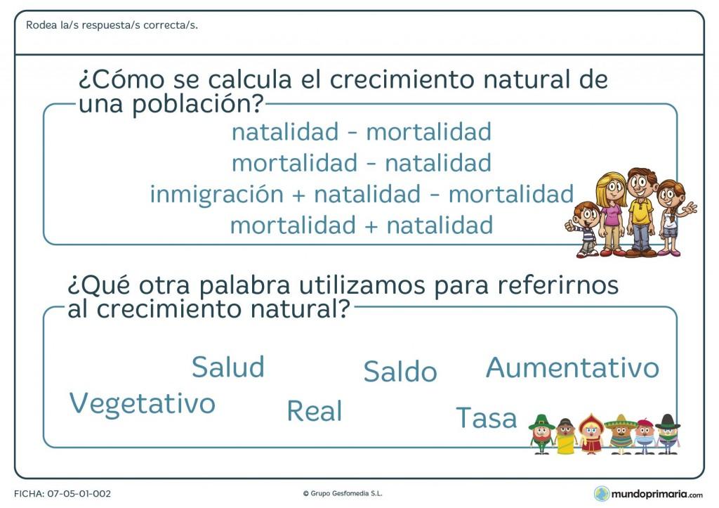 Ficha de crecimiento natural para primaria