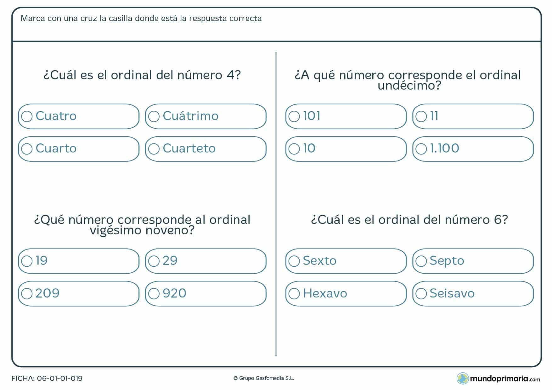 Ficha de cuál es el ordinal en la que has de contestar el correcto ordinal entre cuatro posibles soluciones.