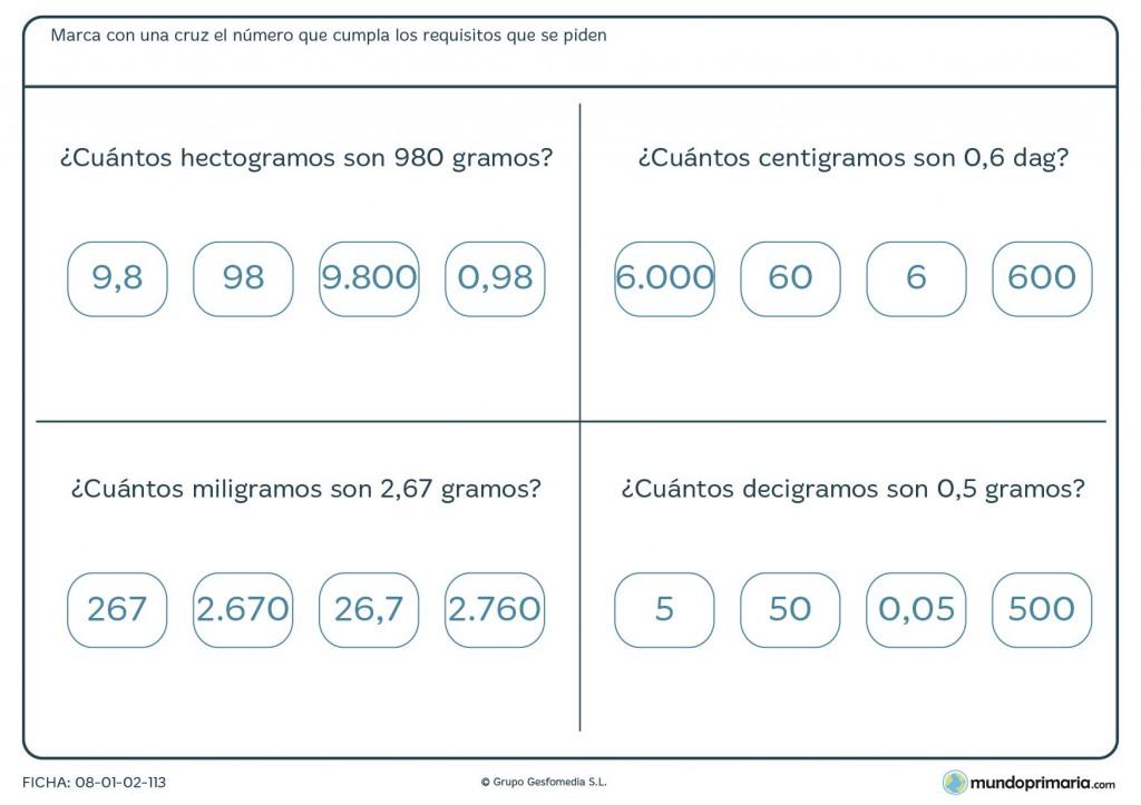 Ficha de cuántos gramos son para primaria