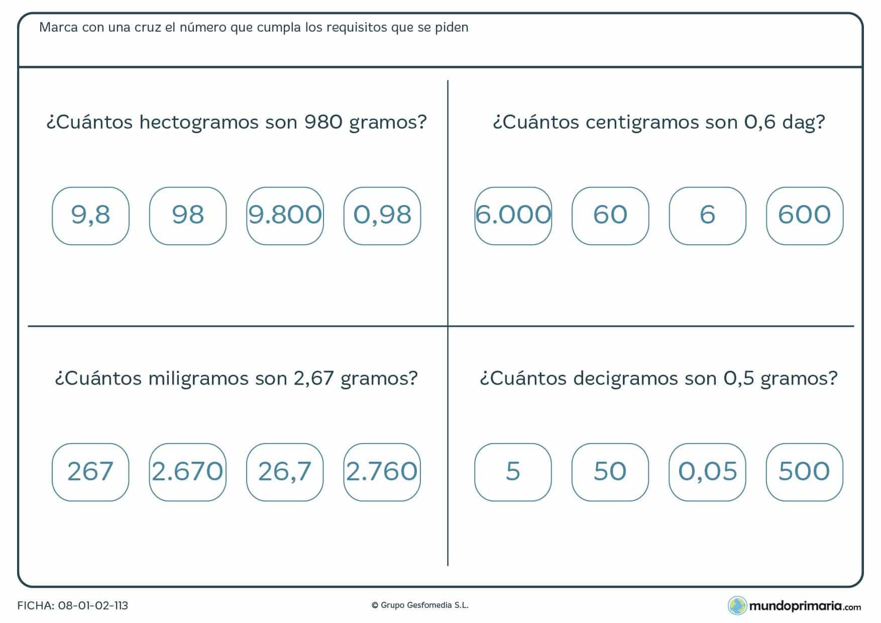 Ficha de cuántos gramos son las cantidades con diferentes unidades que te proporcionamos.