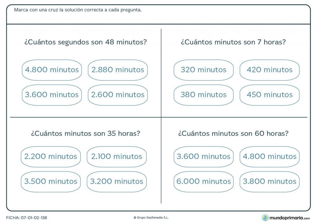 Ficha de cuántos minutos son para primaria