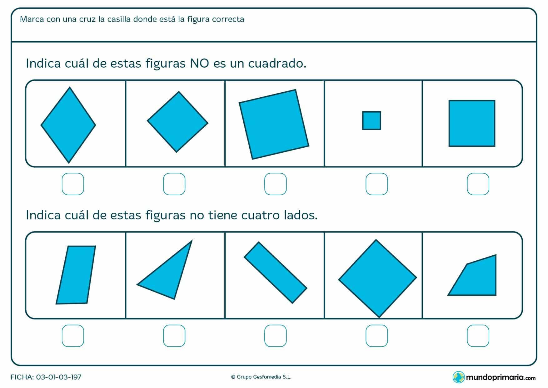 Ficha de cuadrados en la que los niños de primaria repasan para mejorar sus deberes