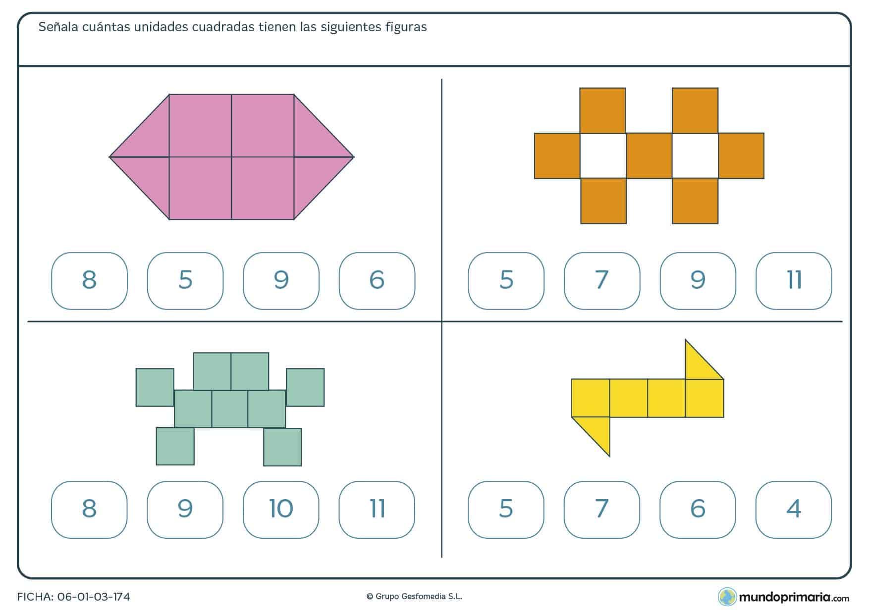 Ficha de cuadros de figuras en la que has de contar y agrupar cuadrados para hallar el número total.