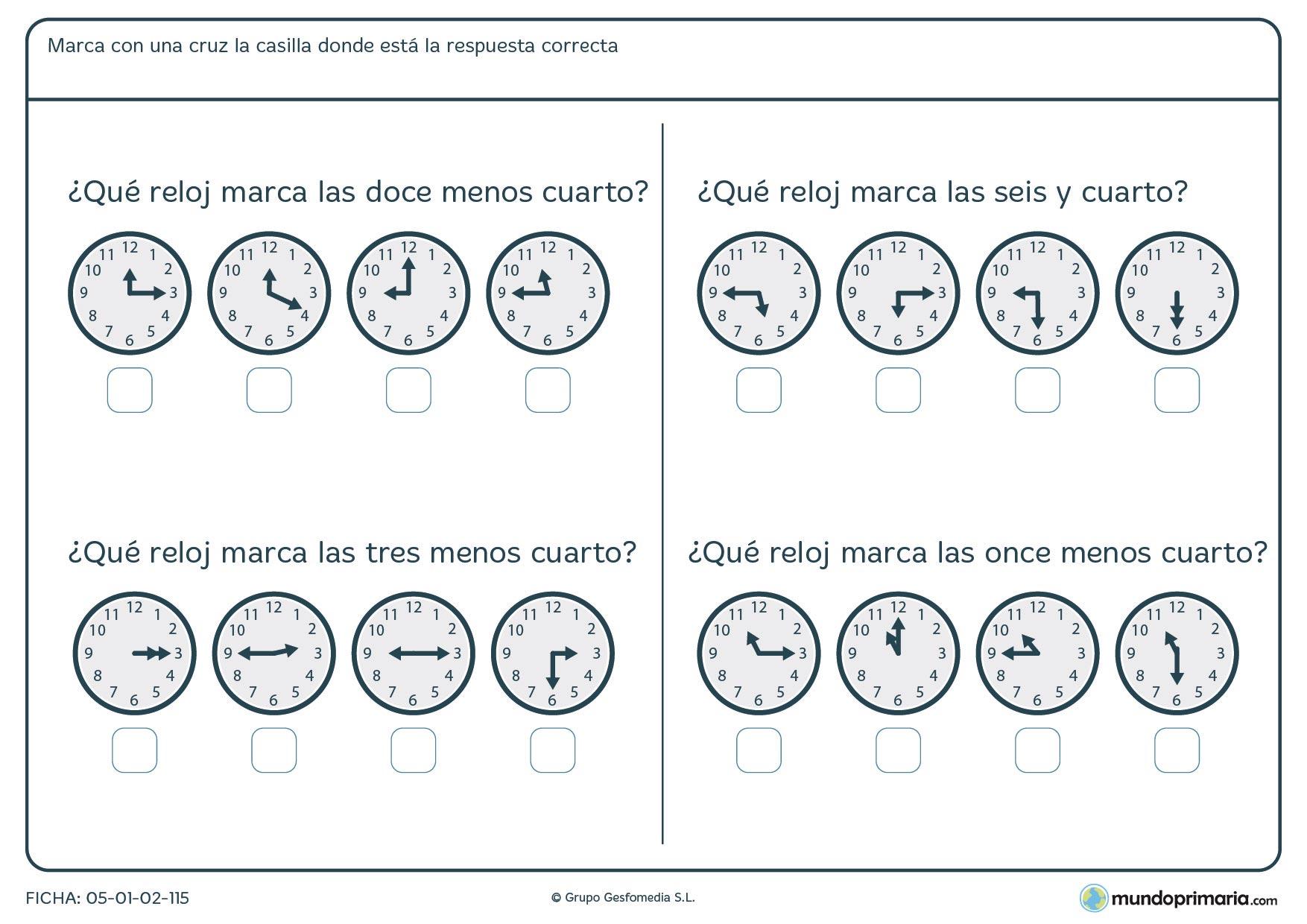 Ficha de cuartos de horas en relojes analógicoa para marcar la hora según se nos pide.