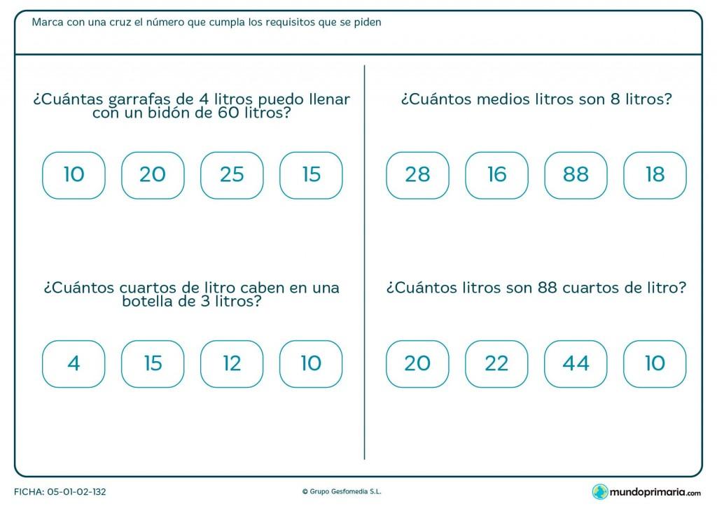Ficha de cuartos de litro para primaria
