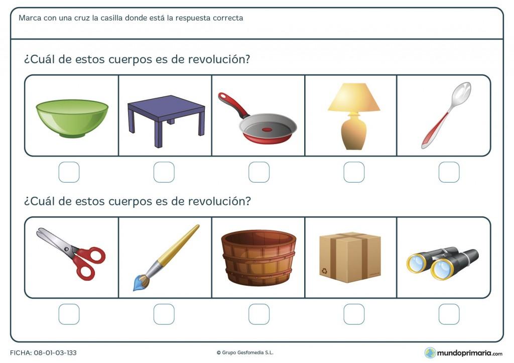 Ficha de cuerpos de revolución para primaria