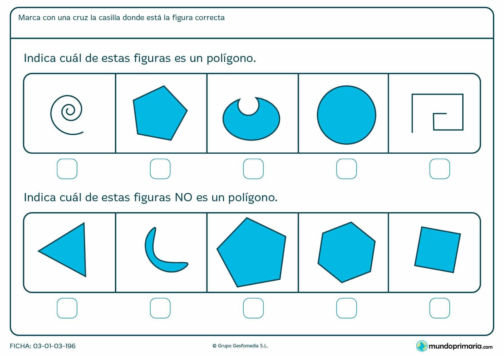 Ficha de cuerpos poligonales con ejercicios de repaso para niños de 6 años