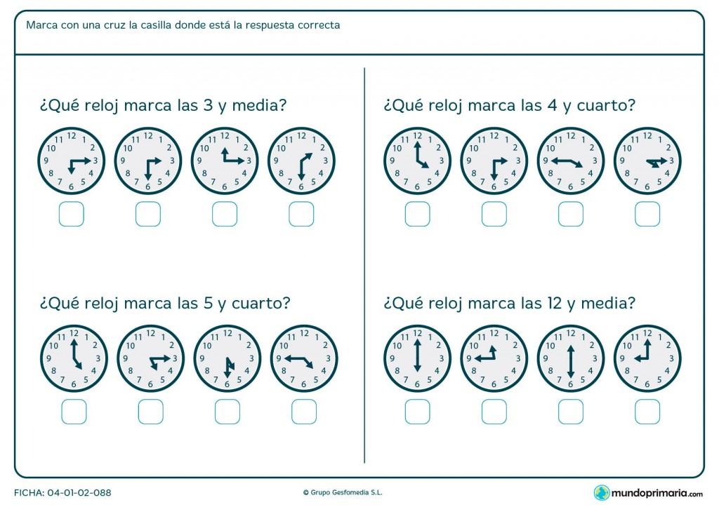 Ficha de de horas de reloj para segundo de primaria