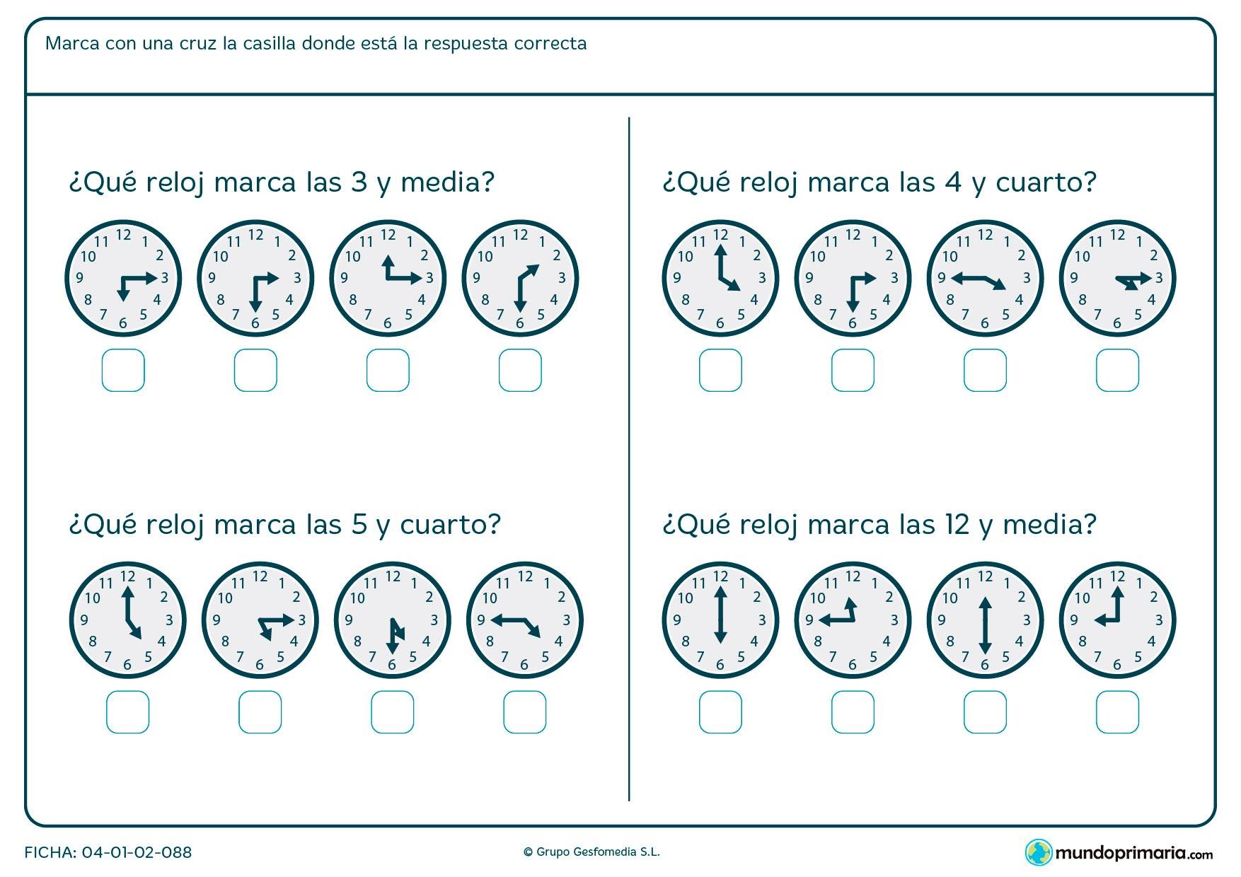 Ficha de de horas de reloj para seleccionar el que marca la hora especificada en el enunciado.