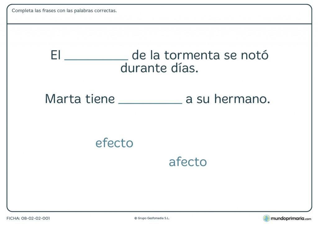 Ficha de diferenciar palabras similares para primaria