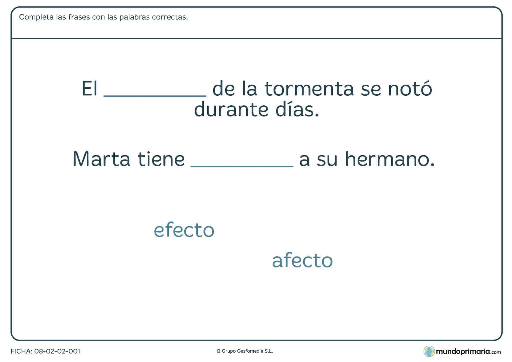 Ficha de diferenciar palabras similares foneticamente en la que con 2 oraciones y 2 palabras hay que completarlas correctamente.