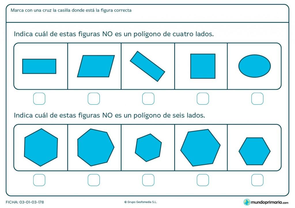 Ficha de diferenciar polígonos para niños de primaria