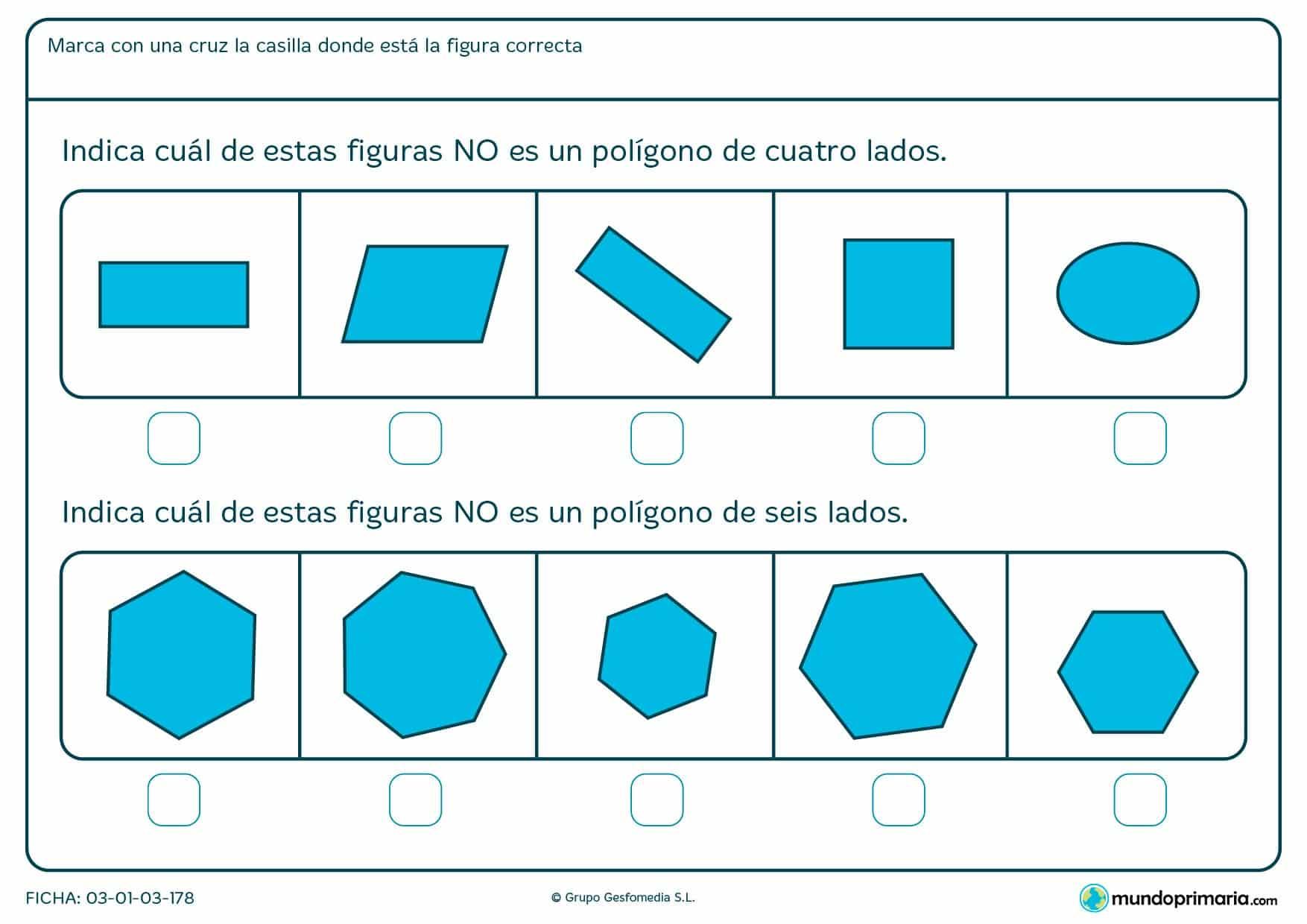 Ficha de diferenciar polígonos para niños de 1º de primaria con la que reforzar conocimientos