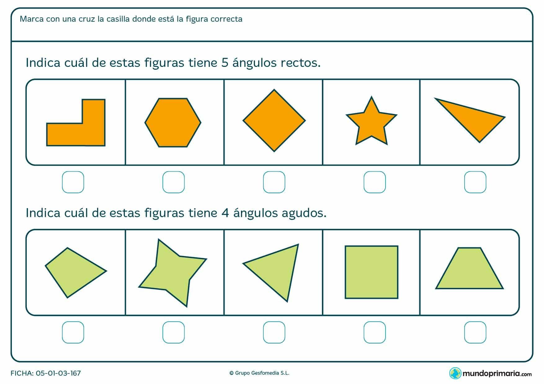 Ficha de diferentes ángulos para contar de varias figuras geométricas y averiguar cuál es la que te nombramos.