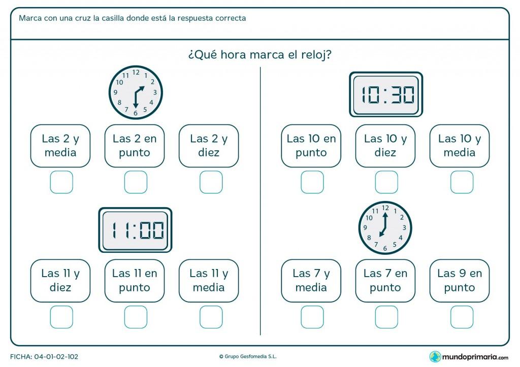 Ficha de diferentes relojes para primaria