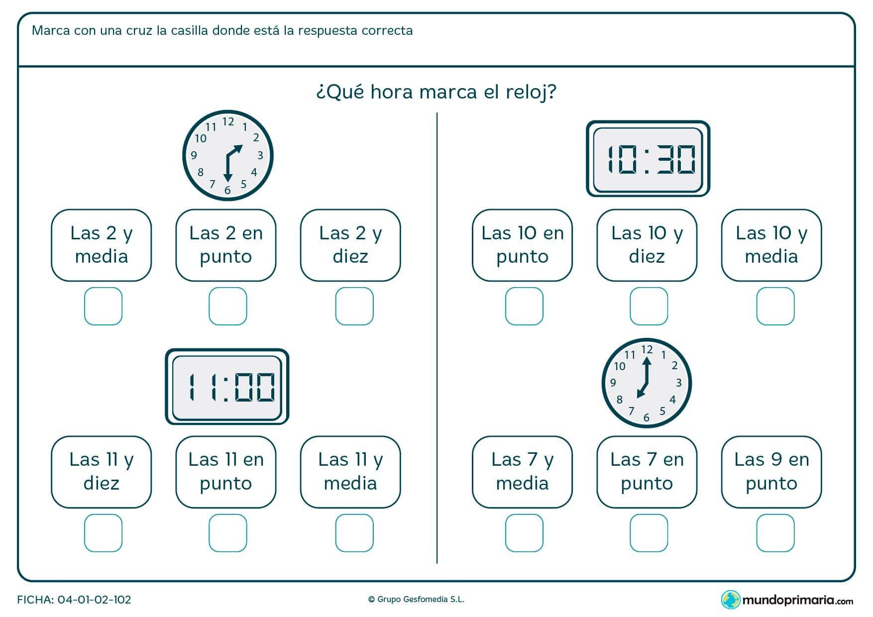 Ficha de diferentes relojes en la que hay que averiguar la hora que marca.