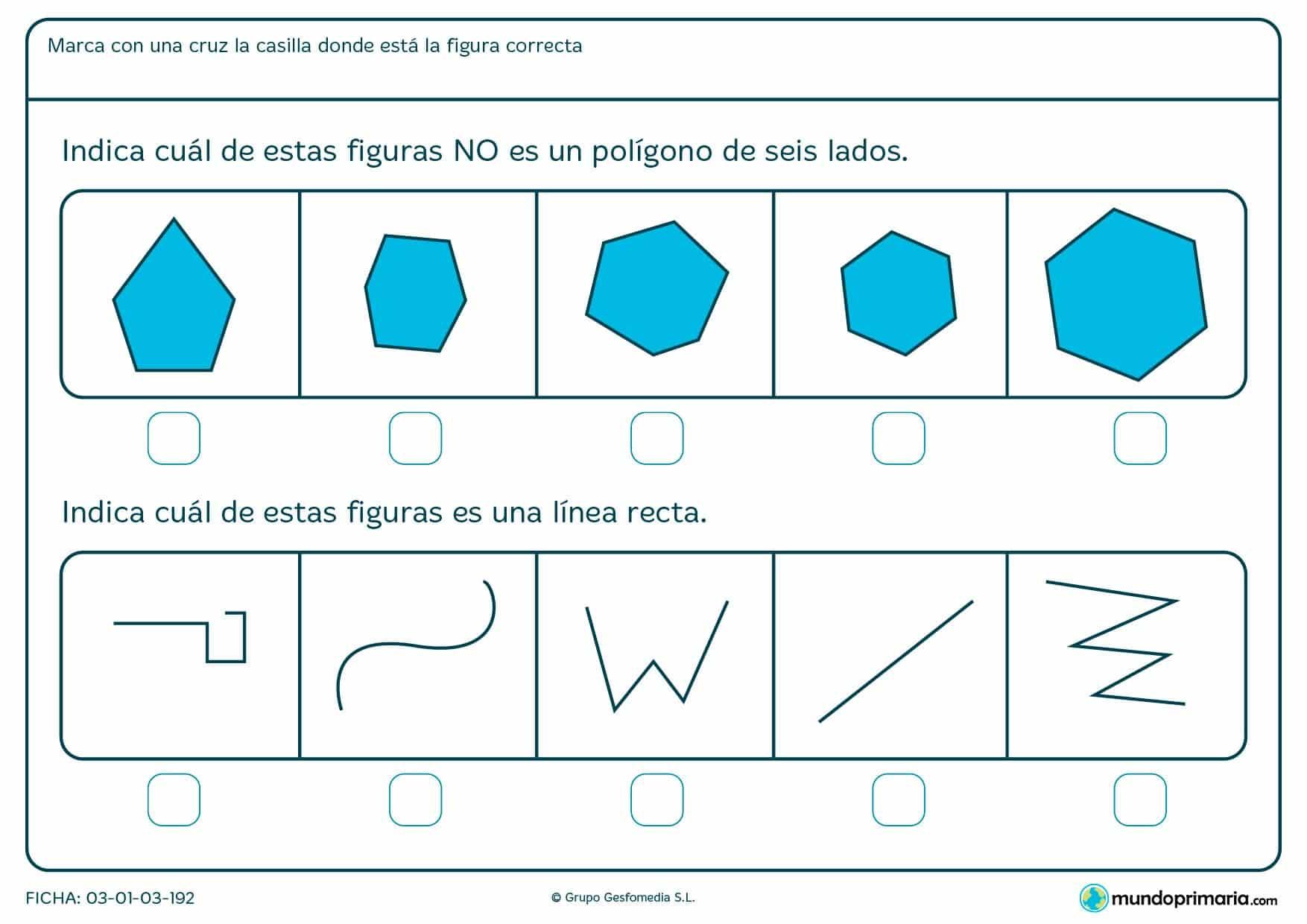 Ficha de discriminar las figuras con ejercicios para niños de primer curso de primaria