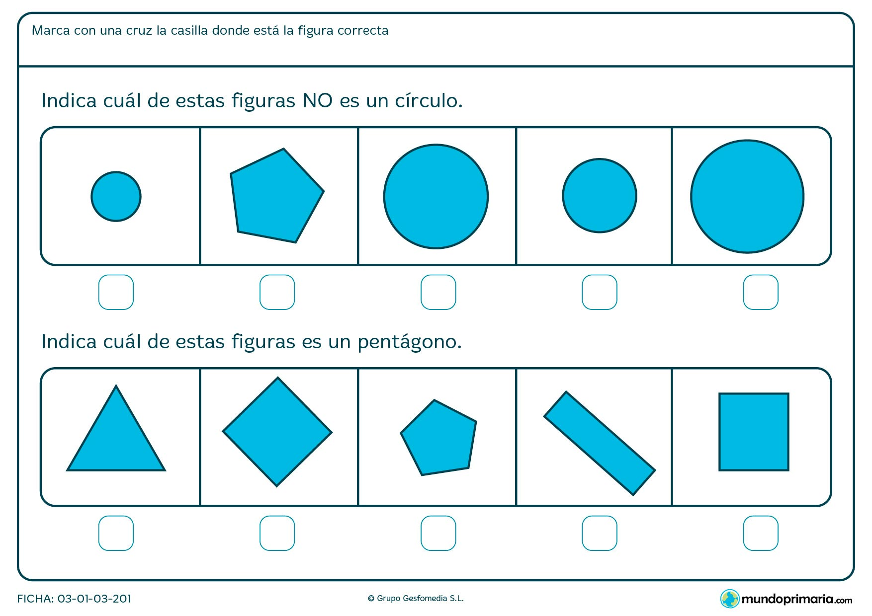 Ficha de distinguir los círculos con ejercicios prácticos para niños de 6 a 7 años