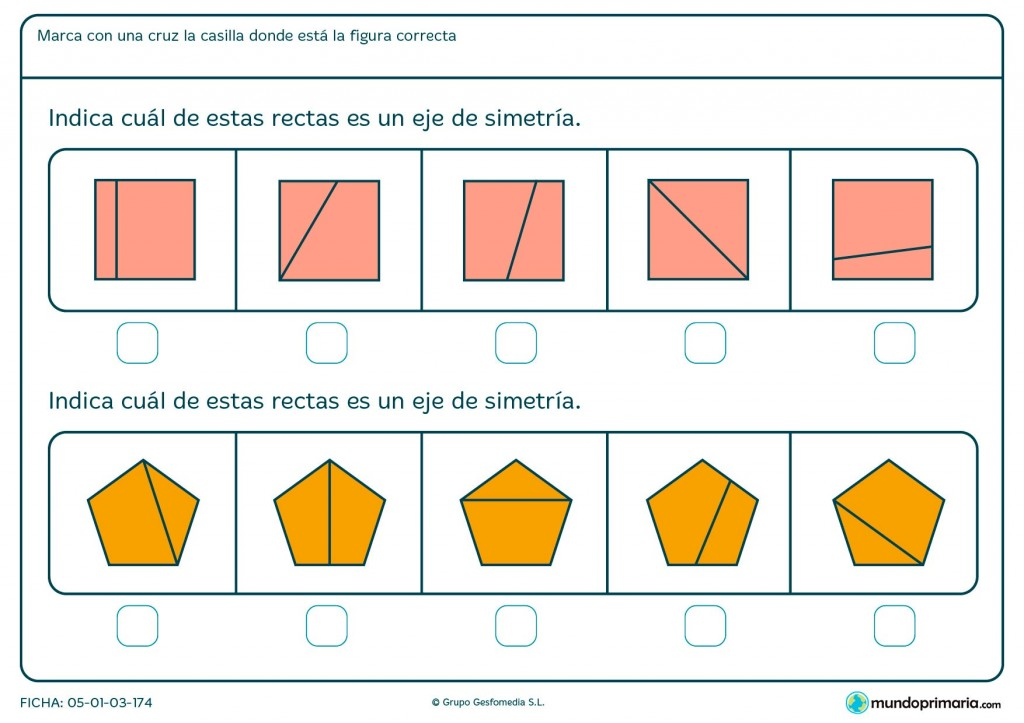 Ficha de eje de simetría de pentágonos para primaria