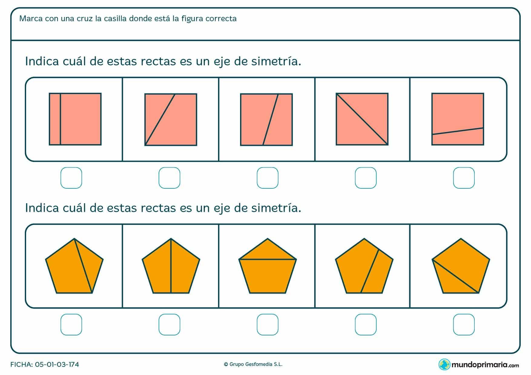 Ficha de eje de simetría de pentágonos y cuadrados para buscar cuál de ellos es eje de simetría.