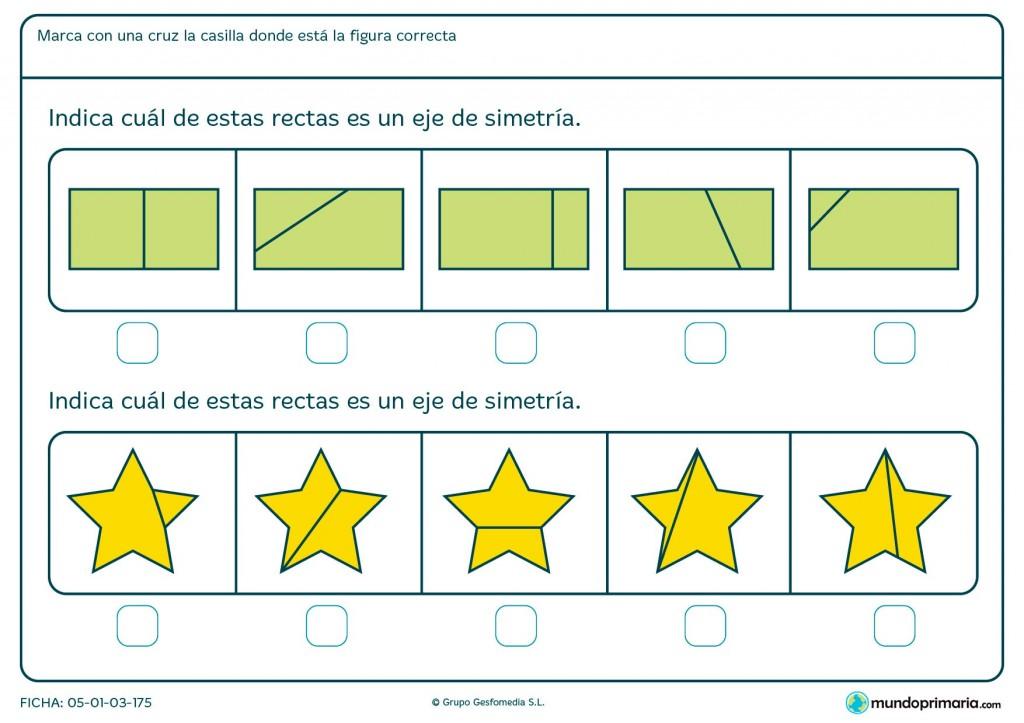 Ficha de eje de simetría en estrellas para primaria