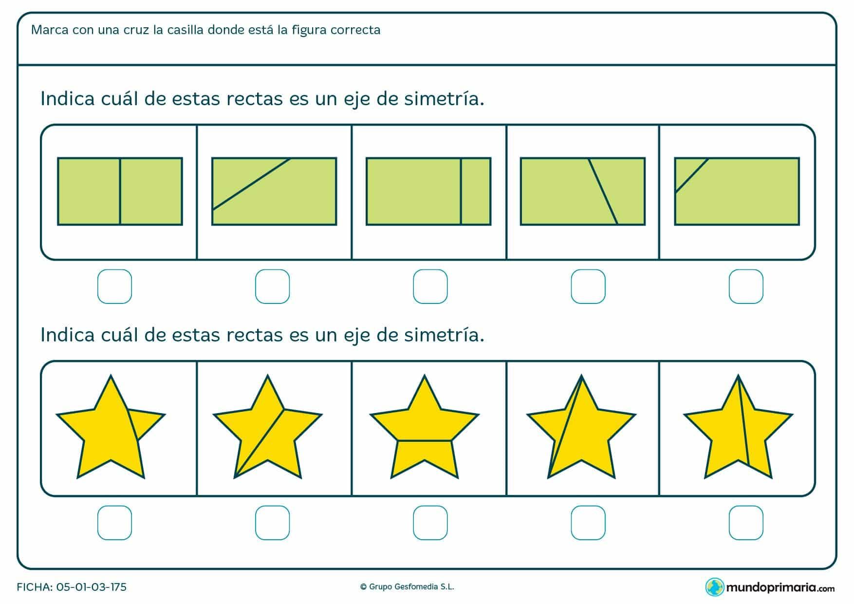 Ficha de eje de simetría en estrellas y revtángulos. Marca las imágenes que cumplen esta condición.