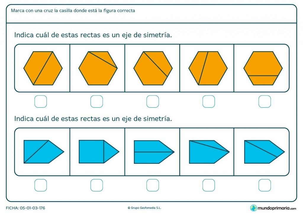 Ficha de eje de simetría en hexágonos para primaria