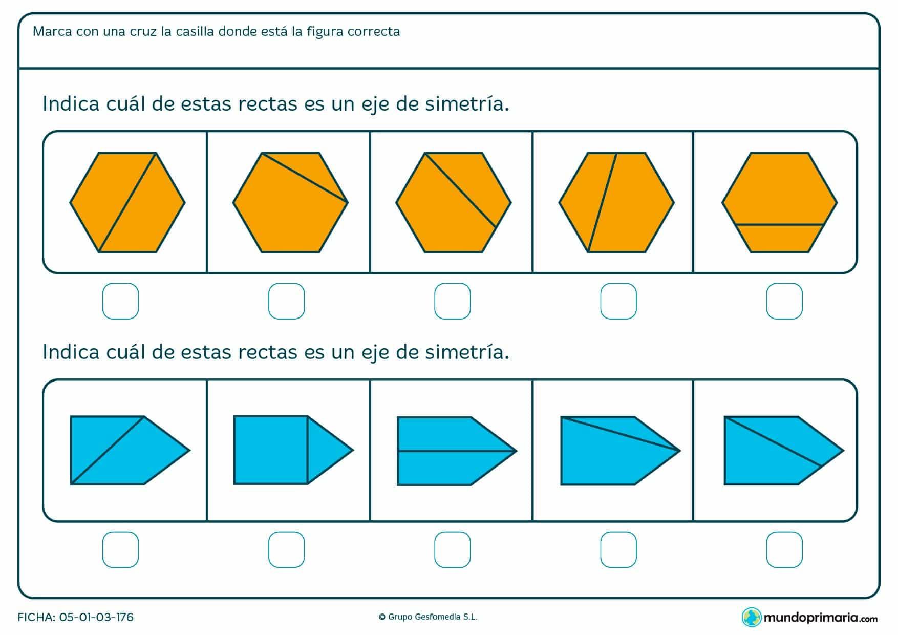Ficha de eje de simetría en en figuras geométricas. Identifica y señala las que lo son.
