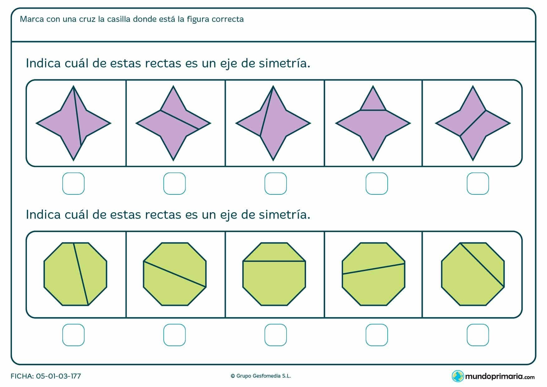 Ficha de eje de simetría en octógonos y estrellas. ¿Cuáles son los correctos? Marca la respuesta.