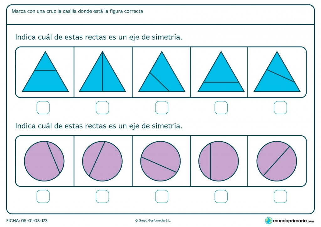 Ficha de eje de simetría en triángulos para primaria