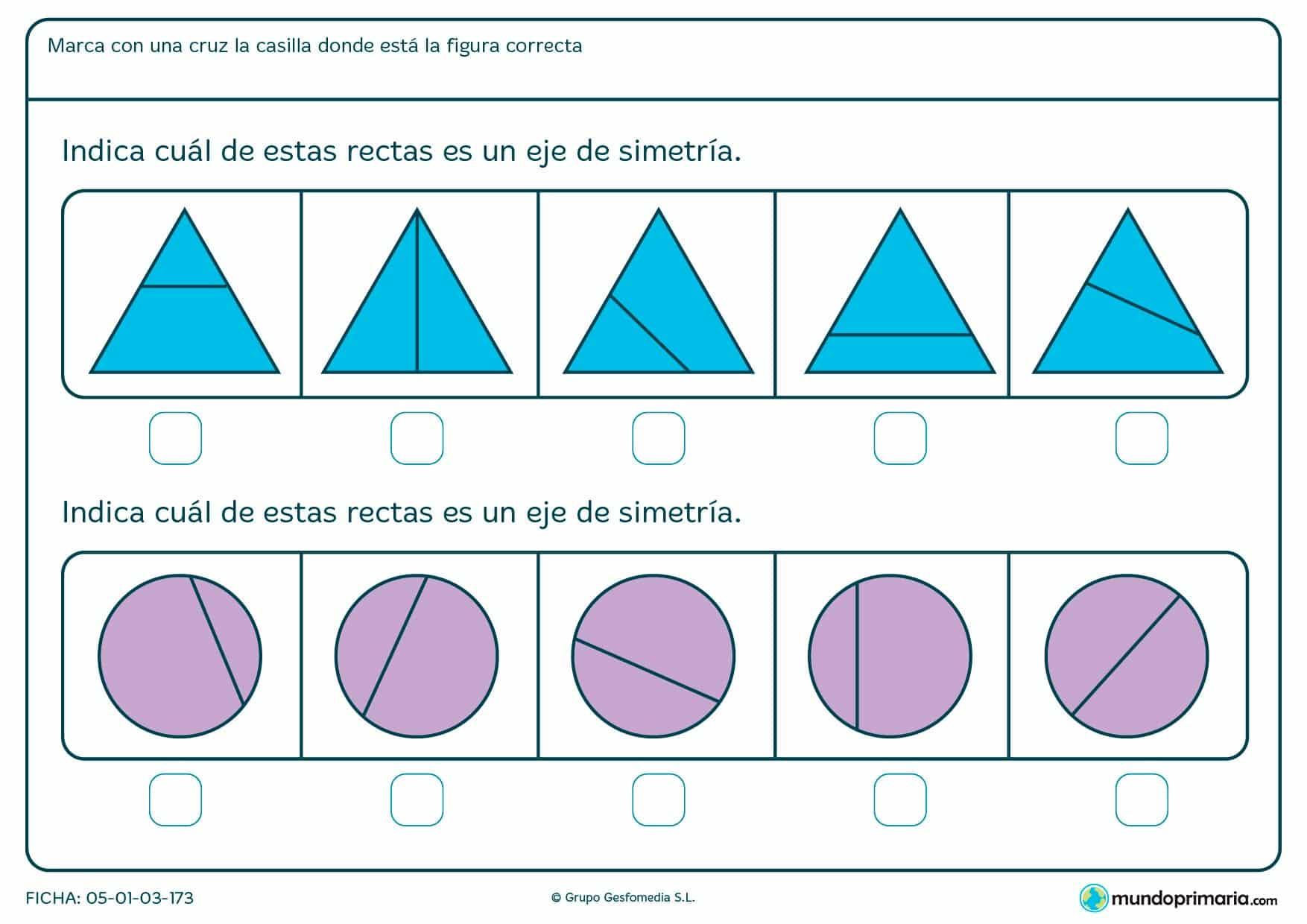 Ficha de eje de simetría en triángulos y círculos para marcar cuál de ellos es eje de simetría.