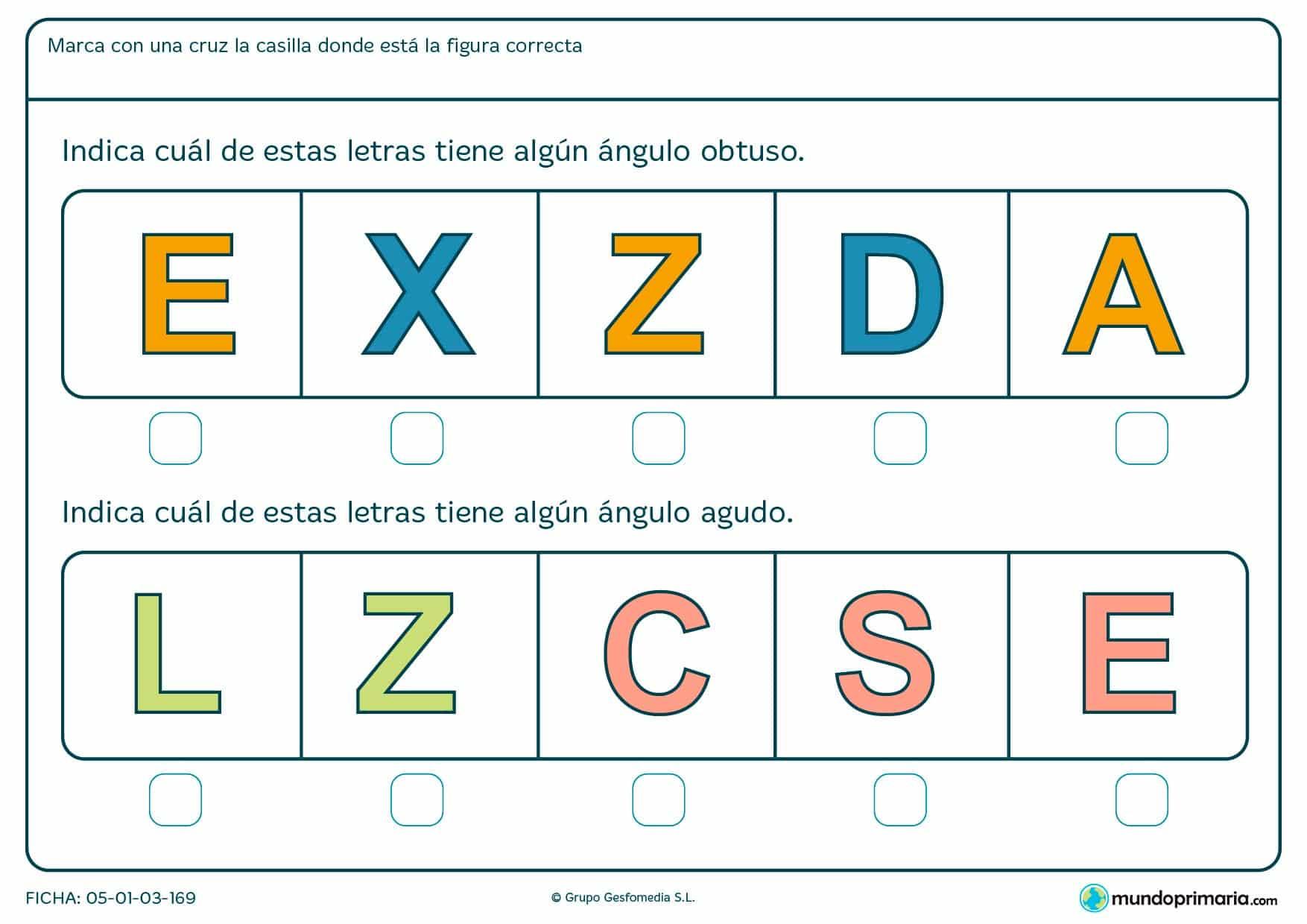 Ficha de el ángulo de las letras mayúsculas en las que tendrás que identificar los ángulos que forman.