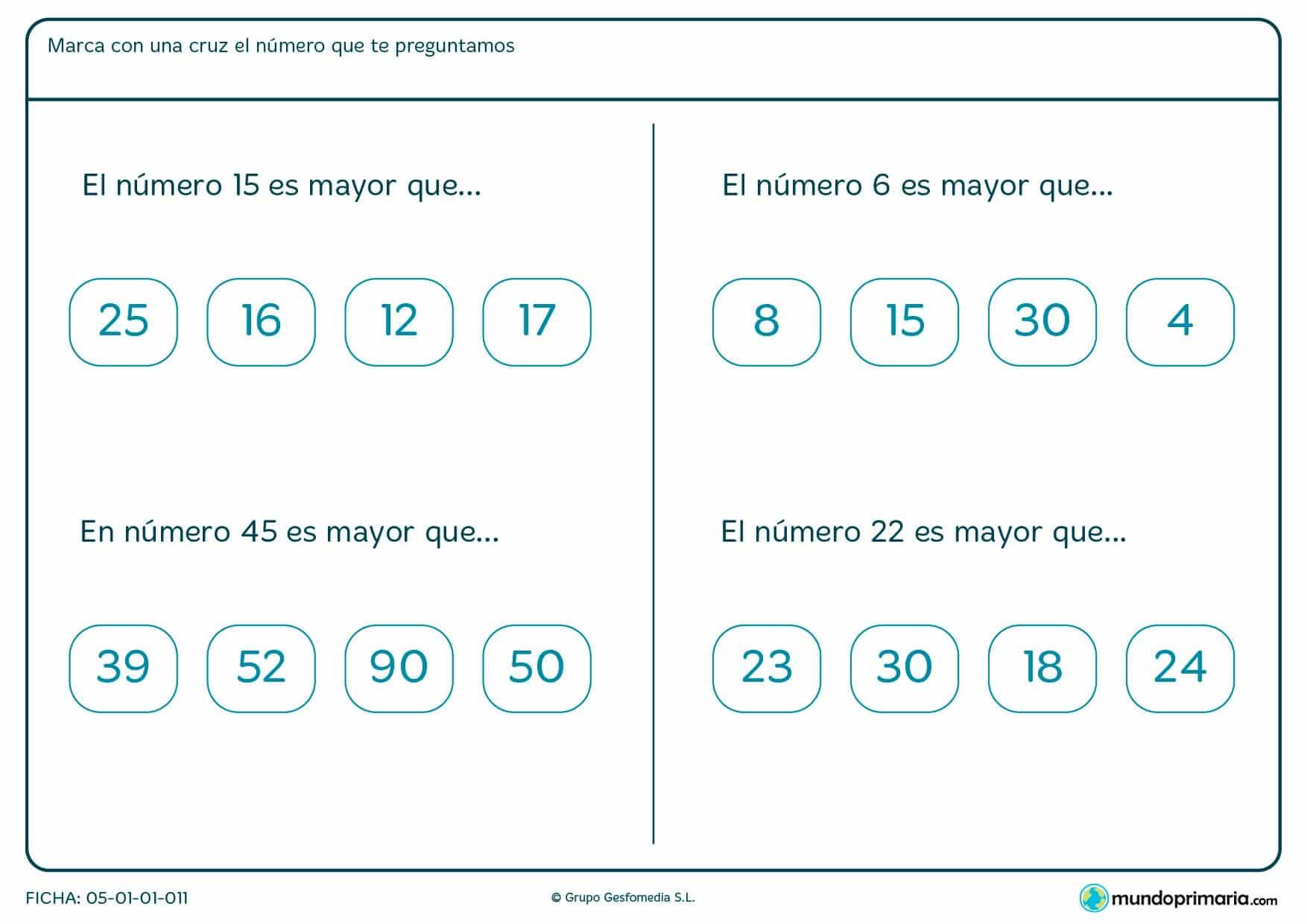 Ficha de el número es mayor que, en la que has de encontrar de los cuatro cuál es mayor que el del enunciado.