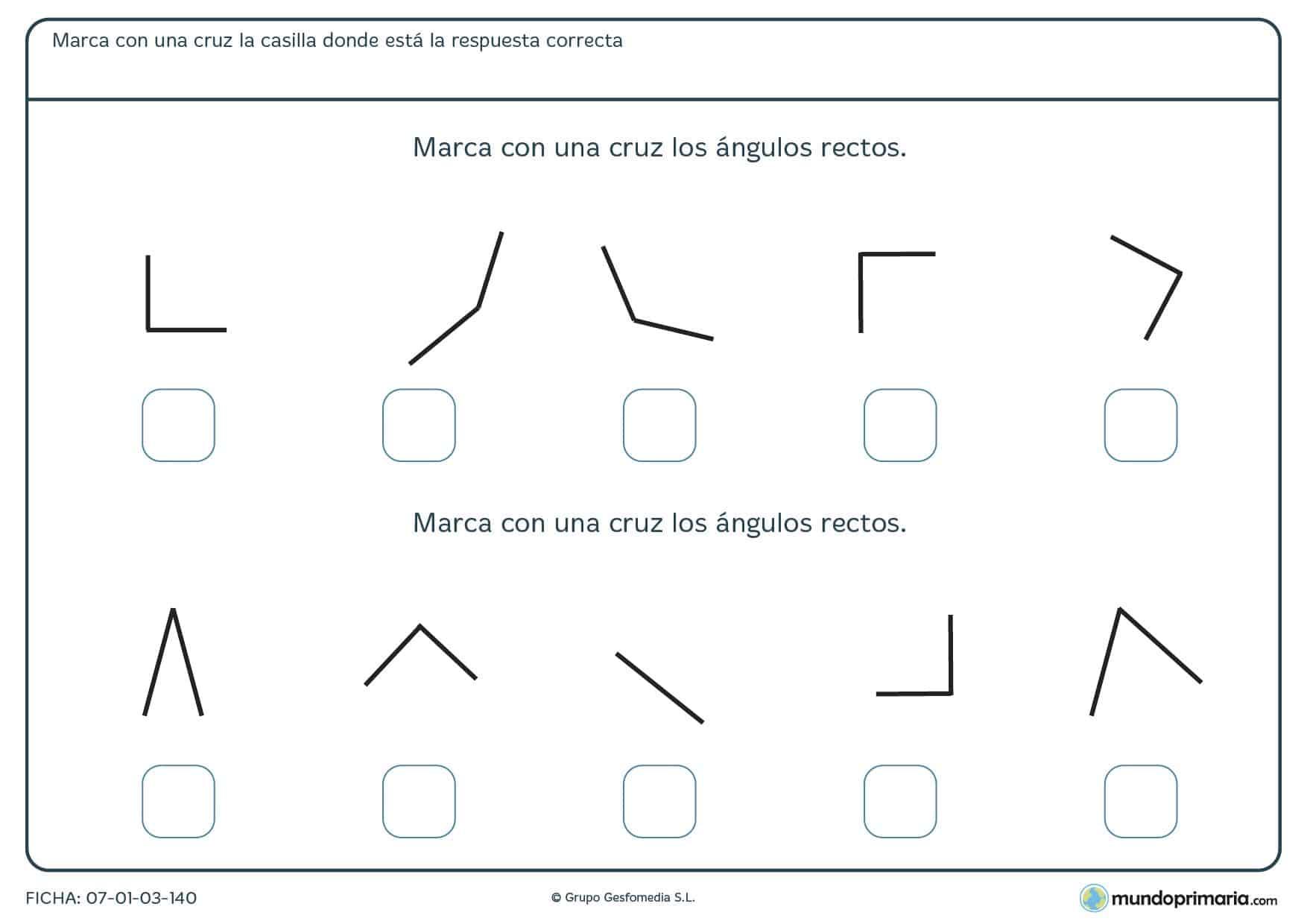Ficha de elegir ángulos rectosen la que se han de marcar los ángulos de tipo rectos que aparecen.