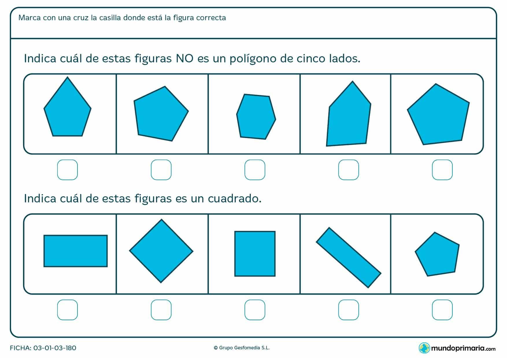 Ficha de elegir la forma correcta con actividades para niños de 6 años