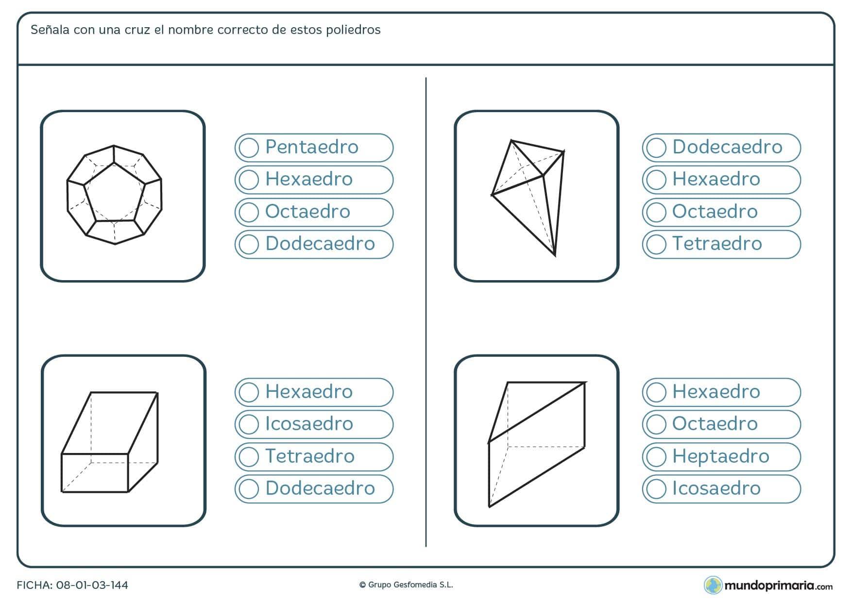 Ficha de elegir poliedros que aparecen en las imágenes y nombrarlos correctamente.