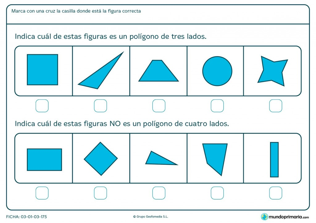 Ficha de elementos de tres y cuatro lados para primaria