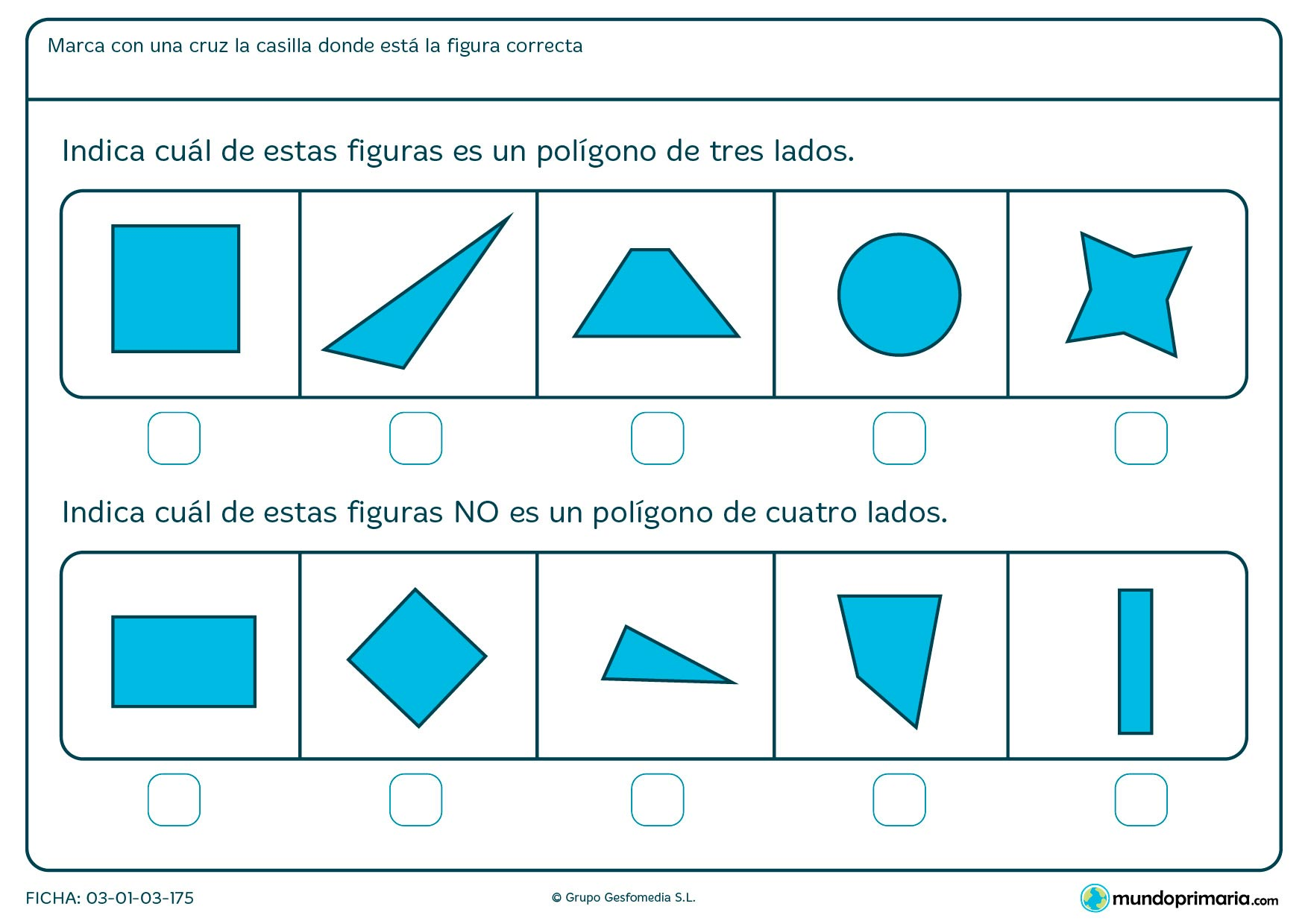 Ficha de elementos de tres y cuatro lados con la que hacer ejercicios para niños