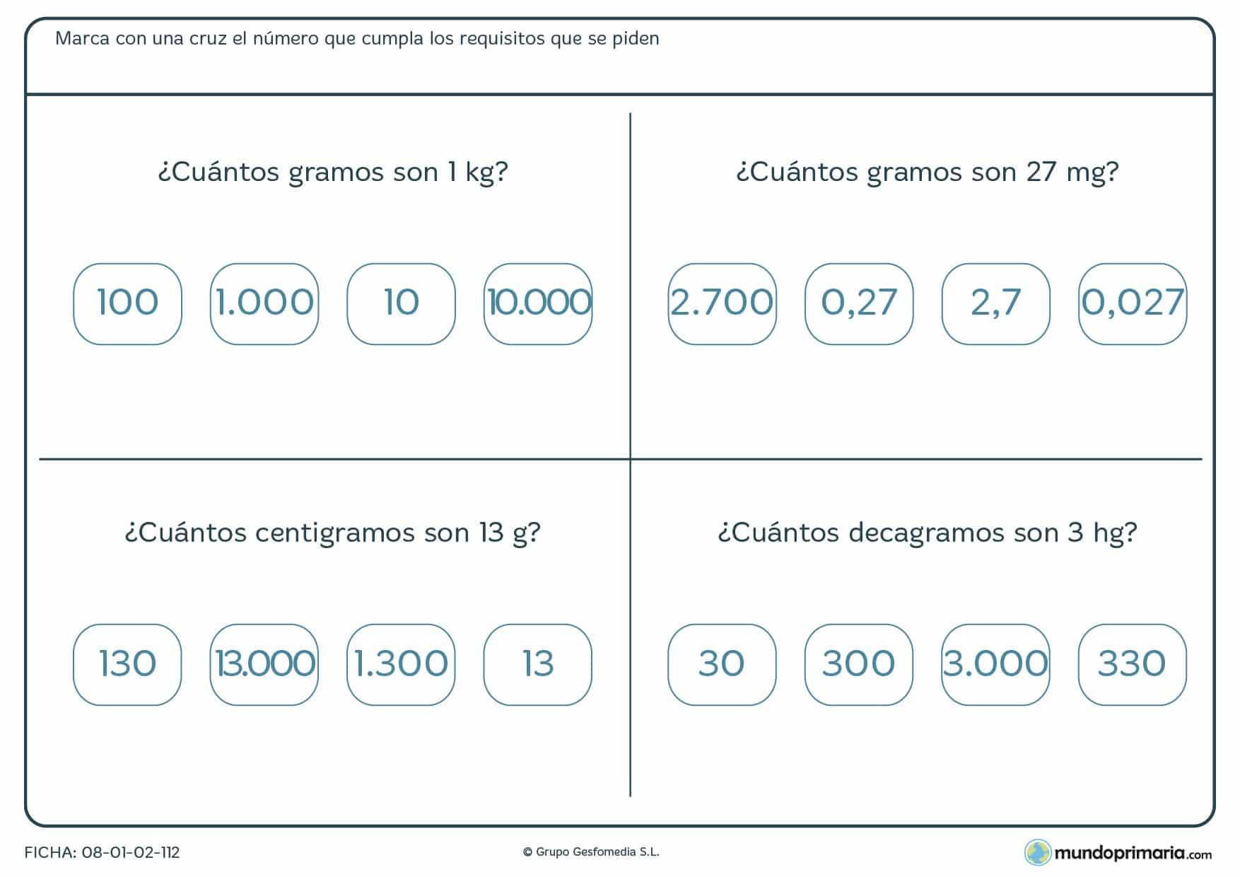 Ficha de equivalencia de gramos. Marca la respuesta correcta a cada pregunta.